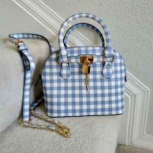 Aldo small handbag  white blue checker NWT